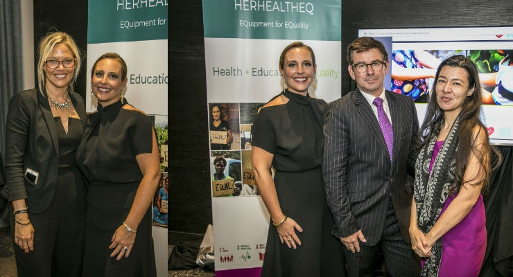 At left, medtech industry veteran Julie Schulte, HERHealthEQ's chairperson of the board (left), stands with the organization's founder and CEO, Marissa Fayer. At right, Fayer enjoys a moment with Glenn Davis, GM and president of Esaote North America, and Michelle Skaer, executive director of HERHealthEQ.