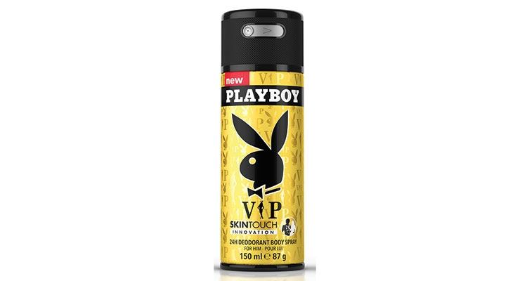 Coty's Playboy Skin Touch deodorant was redesigned from a traditional aerosol valve and over cap, to a premium looking, lockable spray-through cap.