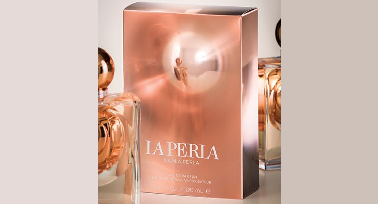 La Mia Perla fragrance has an eye-catching carton design created using FFT's Fresnal Lens technology.