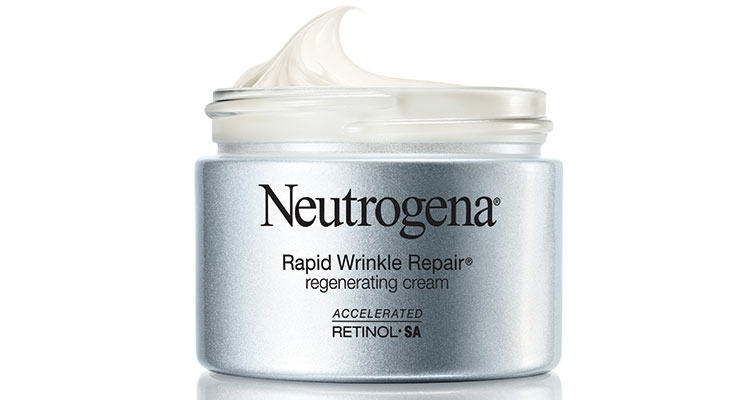 The new Neutrogena Rapid Wrinkle Repair Cream is in a glass jar sprayed with Bottle Coatings' powder coating in silver.