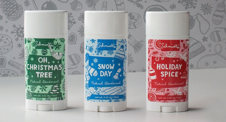Schmidt's Naturals Holiday Deodorants with limited edition labels.
