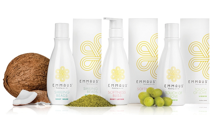 Emmaus' stylish skincare lineup was custom-created, from formulation to packaging design, by Novapac.