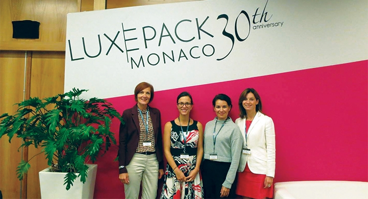 The Luxe Pack team celebrates the show's 30th anniversary in Monaco: (L-R): Danielle Rousseau, Claire Mauger, Linda Villalobos, Nathalie Grosdidier