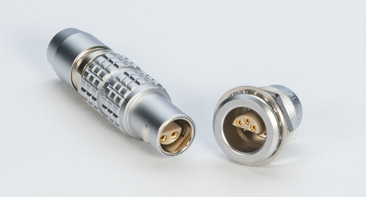 The S Series uses the half-moon insert configuration and is fully compatible with the existing S Series connectors. Image courtesy of LEMO.