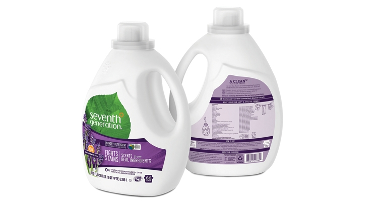 The front of Seventh Generation Laundry Detergents showcases its new Fresh Lavender variant while details on the ingredients used are located on the back panel.