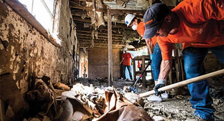 Home Depot teams clean up post hurricane.