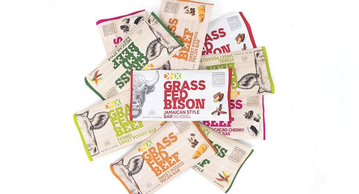 DNX Foods offers grass-fed beef and bison bars that feature 14 grams of protein with organic fruits and vegetables.