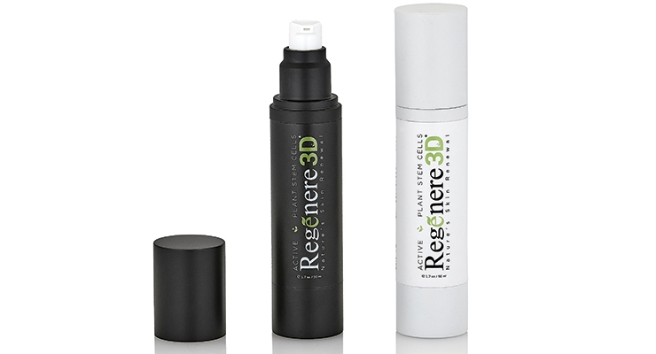 The Regenere 3D bottle employs APC Packaging's stock JS airless bottle  customized with an applied matte finish outer spray.