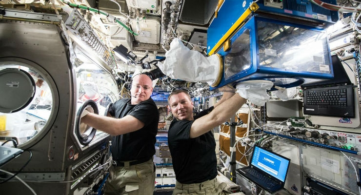 NASA astronauts Scott Kelly and Terry Virts conduct Rodent Research investigations within the Microgravity Science Glovebox and the Rodent Habitat Module aboard the space station. Image courtesy of NASA.