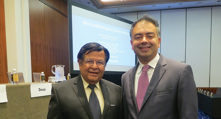 The Anti-Aging Conference  brings together experts from  dermatology, industry and regulatory fields. Here, conference chairman  Navin M. Geria joins dermatologist  Dr.  Seemal R. Desai, MD.