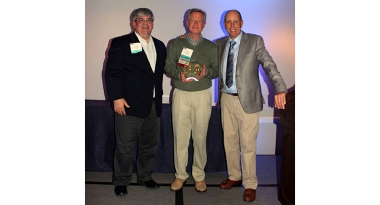 Left to right: Ed Karper, MCA chairman; Scott Moffatt, PPG market manager, architectural coil and extrusion coatings; Dale Nelson, past MCA chairman.