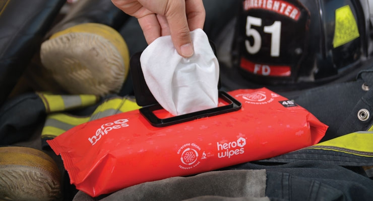 Diamond Wipes' Hero Wipes are formulated to remove toxic, cancer-causing carcinogens from the skin of firefighters.