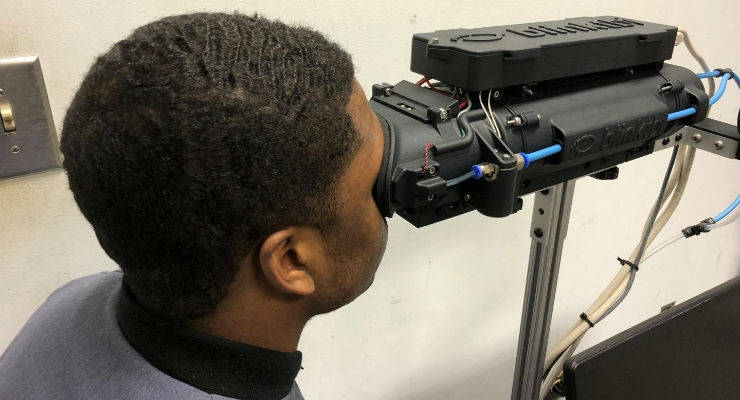 The Blink Reflexometer being used to measure the blink reflex of a cadet at the Citadel. Image courtesy of The Citadel.