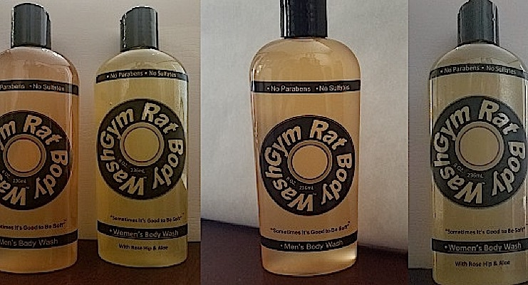 Gym Rat body wash formulas for men and women.