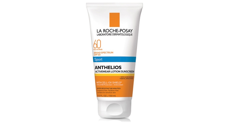 La Roche-Posay's Anthelios 60  Sport Activewear Lotion Sunscreen  is a heavy duty lotion developed  specifically to protect sensitive  skin and help absorb sweat  during outdoor activities.