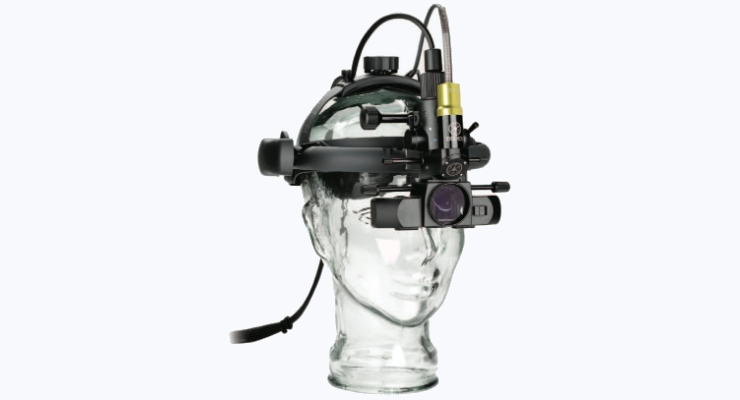 The LIO is a headmounted indirect ophthalmoscope that connects to an IRIDEX laser console and is used to view and perform laser treatments on a patient's eye. Image courtesy of IRIDEX.