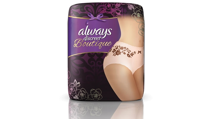 Always Discreet Boutique takes incontinence out from under the bathroom sink and into the dresser drawer, Procter & Gamble says.