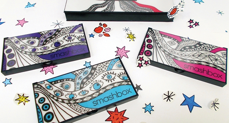 Lenticular plaques were used on the compact lids for the Smashbox Drawn In. Decked Out. collaboration with artist, Ana Strumpf. Her illustrated designs appear to be moving (for an animated gif of the palette, please see beautypackaging.com). The compacts and plaques were produced by MG New York.