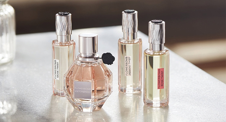 Viktor & Rolf's Flowerbomb Twist Collection is comprised of three unique layering oils that are applied using Aptar's Note capillary action technology.