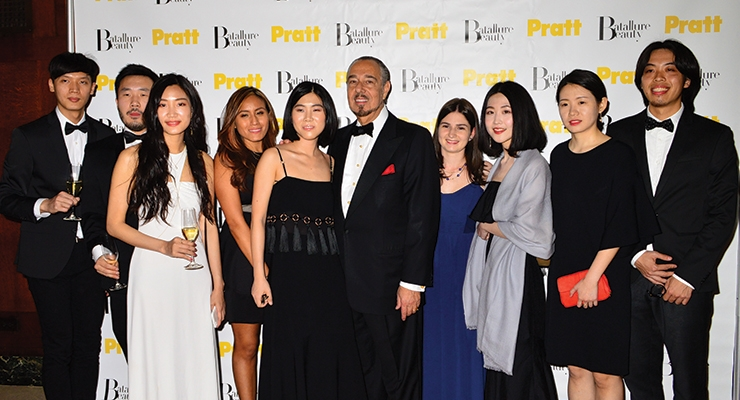 The annual event, which this year honors Groupe Pochet, benefits the Marc Rosen Scholarship and Education Fund at Pratt Institute. Pictured: Marc Rosen with student scholarship winners, 2017