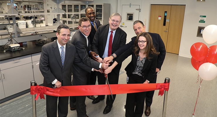 Pictured at Henkel's ribbon cutting ceremony in Stamford, CT: Connecticut State Senate Majority Leader Bob Duff; Thomas Foerster, Global Head of R&D for Henkel Beauty Care; State Representative Terry Adams; Stamford Mayor David Martin; Regional Head of Henkel Beauty Care North America Ed Vlacich; and Vice President of R&D for Henkel Beauty Care, Martina Spinatsch. (Photo: Business Wire)