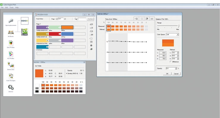 Esko's proofing software performs multiple functions, from accurate spot color quantification to judging the number of colors needed on press.