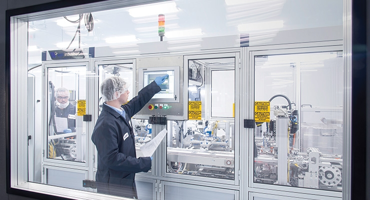 New automated assembly lines can offer flexible device production at competitive market costs. Image courtesy of Web Industries Inc.