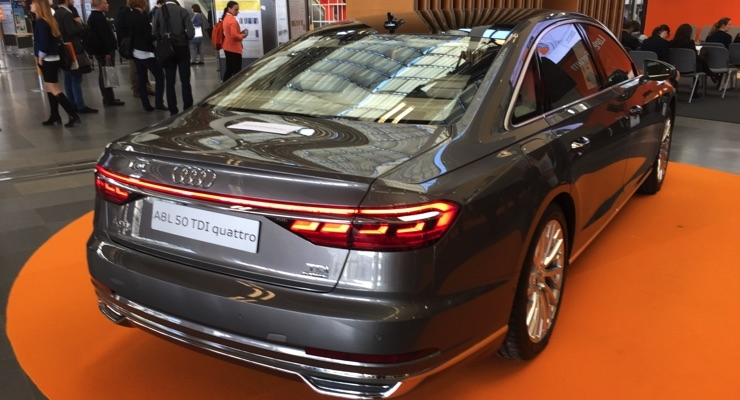 Audi highlighted its A8L 50 TDI quattro featuring OLED tail lights during LOPEC 2018.