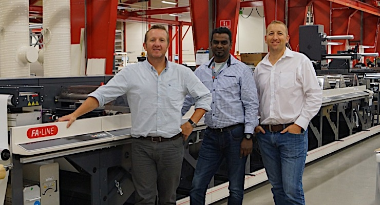 Richard Jones (L), managing director of Advanced Labels, Kasevan Govender, production manager at Advanced Labels, and Simon Cahill, technical director at CSM Machine Sales, on hand for the factory acceptance test at Nilpeter HQ in Slagelse, Denmark.