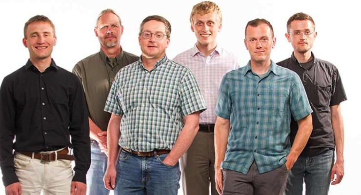 NREL's HTEM Database group includes Andriy Zakutayev (left), Robert White, John Perkins, Marcus Schwarting, Caleb Phillips and Nick Wunder. (Photo by Dennis Schroeder/NREL)