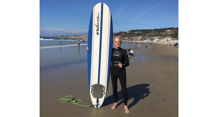 While in San Diego, CA for the 2018 TLMI Converting Meeting, L&NW's Letters from the Earth columnist Calvin Frost took in some sun, sand and surfboarding. (Photo credit: Robert Parker, aka The Label King)