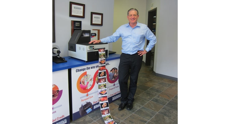 Pacific Barcode owner Mike Meadors with a Memjet-powered VIPColor Technologies label printer.