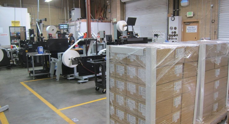 Pallets of blank labels are ready to be shipped from Pacific Barcode's Temecula, CA manufacturing facility to customers all over the world.
