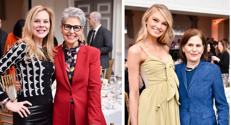 GUESTS CELEBRATE: LEFT: Emily Bond, head of Fine Fragrance North America, Givaudan; Ann Gottlieb, Ann Gottlieb Associates. RIGHT: Romee Strijd, The Fragrance Foundation's 'Face of the Year,'; Linda G. Levy, president of The Fragrance Foundation. Photos (and prior one of Strijd) by Griff Lipson