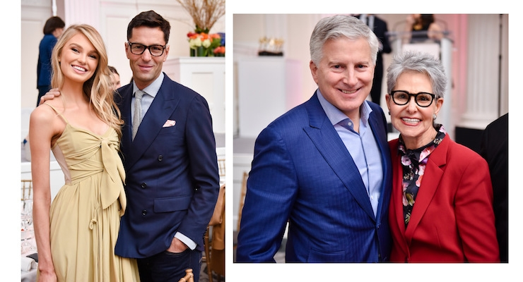 LEFT: Romee Strijd, The Fragrance Foundation's 'Face of the Year'; Greg Unis, CEO, Victoria's Secret Beauty. RIGHT: Jerry Vittoria, head of Fine Fragrance, Firmenich / chairman of The Fragrance Foundation; Ann Gottlieb, Ann Gottlieb Associates. Photos by Griff Lipson
