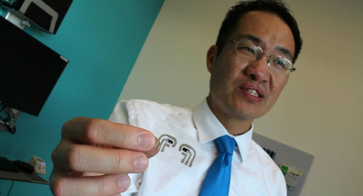 Edward Chao, D.O., is the principal investigator of a phase I clinical trial at UC San Diego Health that is testing the accuracy of a needleless glucose monitor developed by University of California San Diego Jacobs School of Engineering researchers that adheres to the skin like a temporary tattoo to read blood sugar levels. Image courtesy of UC San Diego Health.