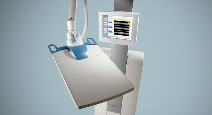 The Calypso system and Beacon transponders for lung, surface, and soft tissue deliver precise and accurate tumor tracking in real time. This enables radiation oncology clinicians to keep the target in the path of the radiation beam at all times. Image courtesy of Varian.