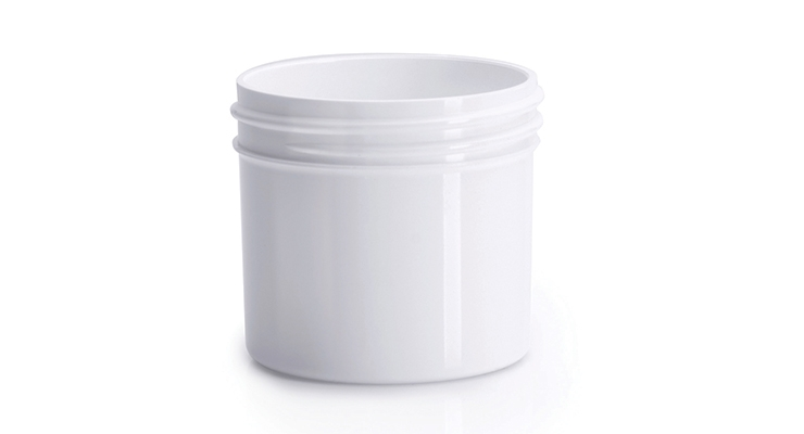 A 2oz, 53mm PET white jar from Olcott Plastics