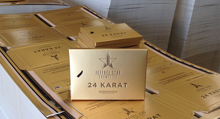 Impress Communications worked with Jeffree Star Cosmetics  on the carton for 24-Karat Gold makeup.