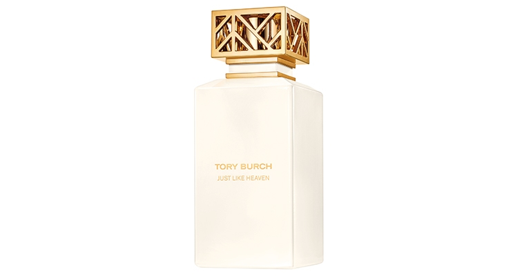 Tory Burch Just Like Heaven features a metallized cap.