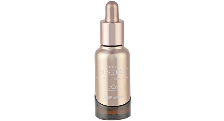 Virospack produced and color-matched the metallized bulb in champagne gold for Josie Maran Argan Reserve serum.