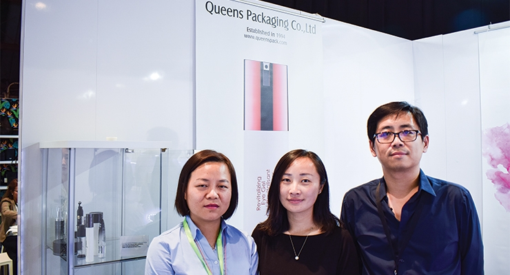 Queens Packaging (L-R): Vivian Yin, sales; Simmer Wang, marketing manager; and William Chu.