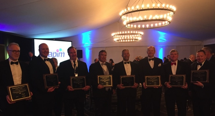 NAPIM awarded eight Printing Ink Pioneer Awards during its 2018 Annual Convention. The honorees are, from left, Pat Powers of DSM; Jonathan Graunke of INX; Gene Cassidy of Lawter; Kris Johansen of Toyo Ink America; Michael Brice of INX; Vic Dahleen of Central Ink; Jim Leitch of Braden Sutphin Ink; and Mark Hill of INX.
