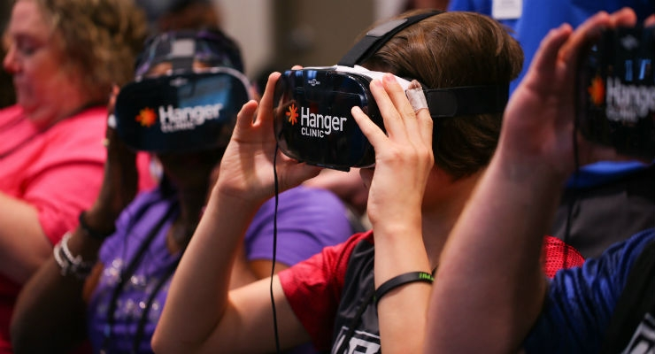 The initial MIGO 360-degree immersive video experience offers users an opportunity to have a first-person point-of-view interaction with a fellow amputee. Image courtesy of Hanger Inc.