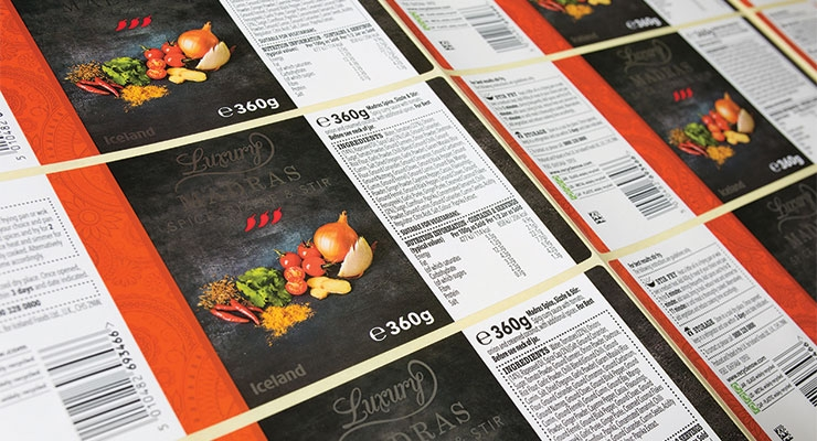 Luxury Madras Spice, Sizzle and Stir labels. (Photo courtesy of Hamilton Adhesive Labels)