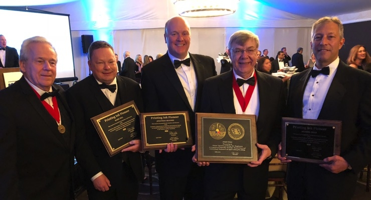 Celebrating at the NAPIM Awards Banquet, from left to right; Rick Clendenning; Mark Hill; Jonathan Graunke; Joe Cichon and Michael Brice.