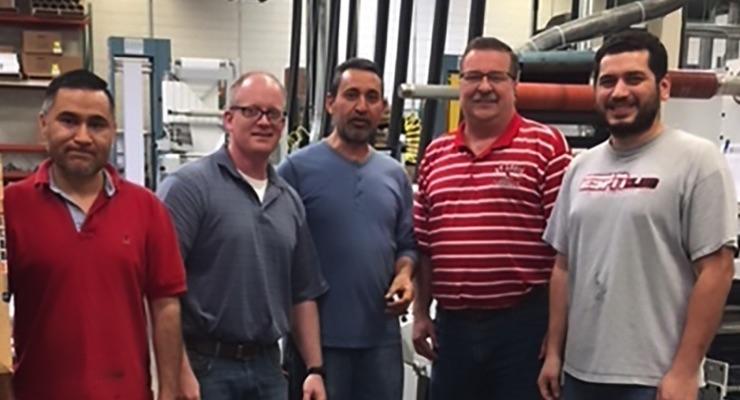 From left, Jaime Camargo, Ross Mussano, Ruben Ramirez, Ron Kassal, & Ruben Alvarez with the new P5 press in Continental Datalabel