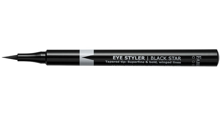 One-swipe application and multiple tips are news at Faber-Castell  with their liquid liner Styler, which provides a deep, saturated ink flow  in one stroke with four different felt tips