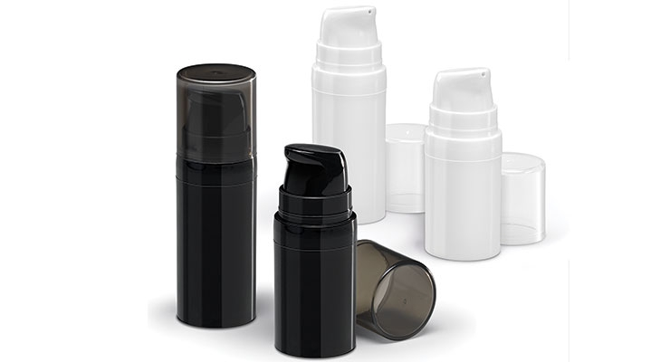 Stylish black and white airless bottles by Qosmedix