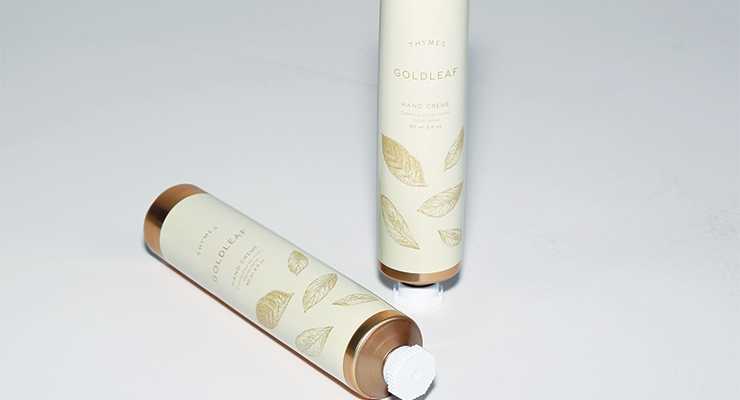 Thymes Goldleaf Hand Cream earned Plastube the Tube Council's 2017 Silver Award for Tube of the Year in the personal care category.